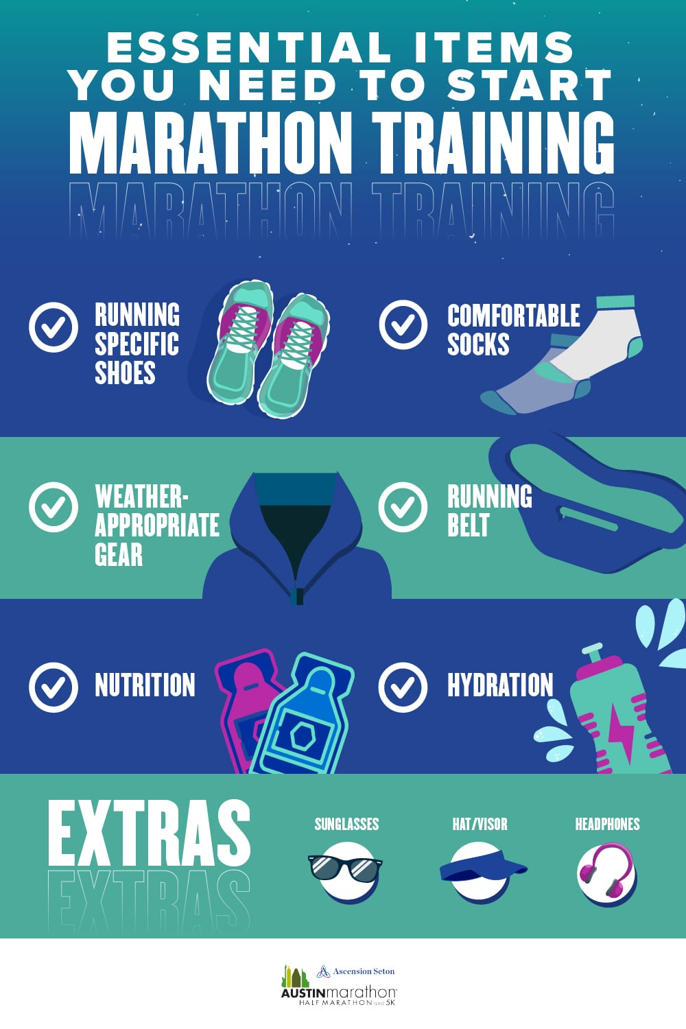 Infographic listing items needed to start marathon training, like running shoes, sunglasses, hydration. Read about all the items at https://youraustinmarathon.com/items-to-start-marathon-training/
