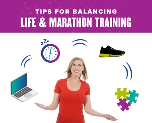 Woman juggles items to represent life and training, computer, clock, shoes, puzzle pieces. Text on design reads Tips for Balancing Life and Training. Read more at https://youraustinmarathon.com/balancing-life-and-training/