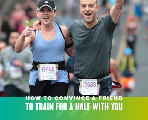 A male and female runner smile for the camera and wave their arms during the Austin Half Marathon. Text on design reads Convince Your Friend to Train for a Half with You. Read more at https://youraustinmarathon.com/convince-your-friend/