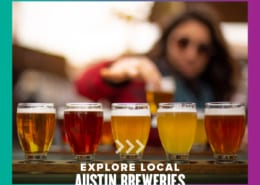 Woman points to a beer within a flight of beers. Text on design reads Explore Local Austin Breweries. Learn more at https://youraustinmarathon.com/local-austin-breweries/