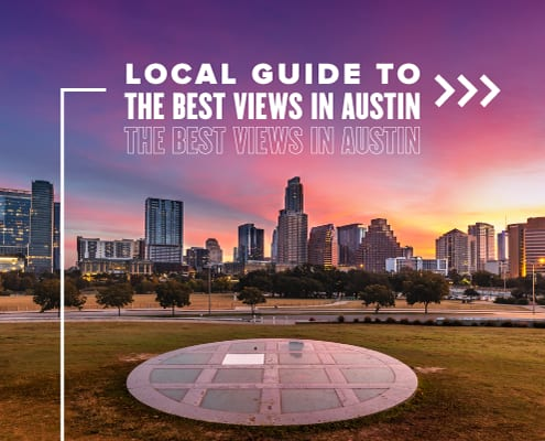 View of the Austin skyline as the sun rises. Text on design reads Local Guide to the Best Views in Austin. Rear more at https://youraustinmarathon.com/best-views-of-austin/