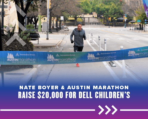 Nate Boyer runs towards the finish line after running 26.2 miles on the streets of Austin. Boyer helped fundraise more than $21,000 for Dell Children's Heart Program. Read more at https://youraustinmarathon.com/boyer-helped-fundraise/
