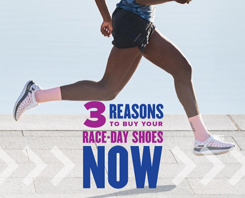 Female runner strides wearing Under Armour's Flow Velociti Wind running shoe. Text on design reads 3 Reasons to Buy Your Race-Day Shoes Now. Read more at https://youraustinmarathon.com/buy-your-race-day-shoes-now/