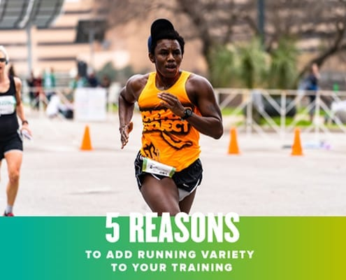 Runner sprints towards the Austin Half Marathon finish line. Text in design reads 5 Reasons to Add Running Variety to Your Training. Learn more at https://youraustinmarathon.com/important-to-add-running-variety/