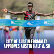 James Ngandu, 2020 Austin Half Marathon champion, crosses the finish line with his arms stretched out. Text on design reads City of Austin Formally Approves 2021 Austin Half Marathon and 5K. Read more at https://youraustinmarathon.com/city-of-austin-approves-2021-austin-half-marathon/