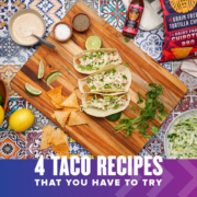 Three chipotle fish tacos sit on top of a cutting board with the ingredients surrounding them. Text on design reads 4 Siete Taco Recipes that You Have to Try. Find them at https://youraustinmarathon.com/siete-taco-recipes/