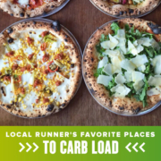 Four pizzas from Bufalina are displayed on a table. Text on design reads Local Runner's Favorite Places to Carb Load. Read more about the choices of the Comedor Run Club runners at https://youraustinmarathon.com/comedor-run-club-places-to-carb-load/