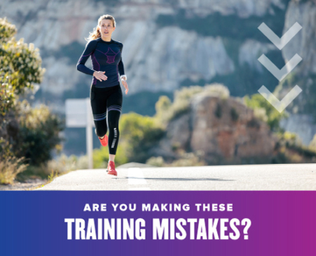 Runner strides on a road towards the camera. Text on design reads Are You Making These Training Mistakes? and leads to a blog about simple training mistakes to avoid. Read more at https://youraustinmarathon.com/avoid-these-simple-training-mistakes/
