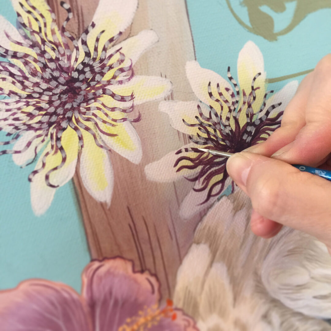 painting-passionflower-vines-by-allison-cosmos