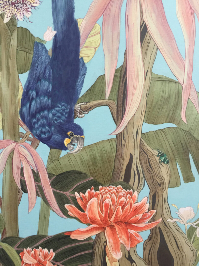 torch-ginger-painting-hyacinth-macaw-by-allison-cosmos