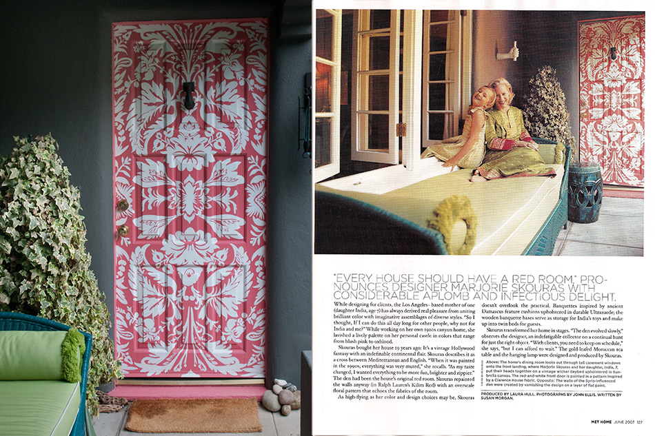 Fun damask painted front door design by Allison Cosmos