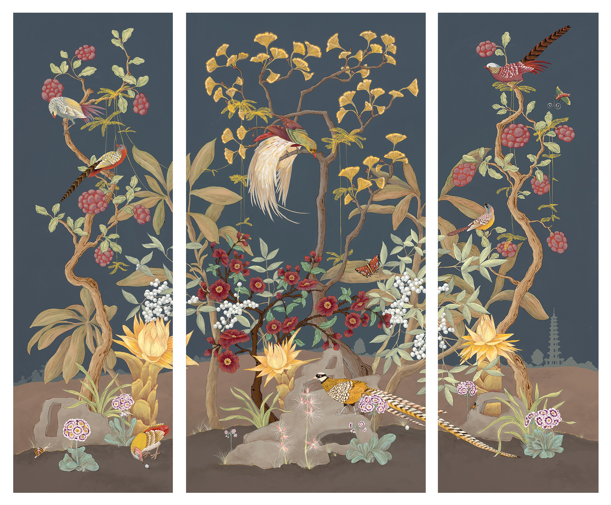 """""""Pheasants and Forest"""" is a Modern style Chinoiserie triptych measuring 72"""" high. The original is available in our """"shop"""" and limited edition prints are offered to the trade via <a href='http://www.zoebioscreative.com/newest-edition/' target='_blank'>Zoe Bios Creative</a>."""