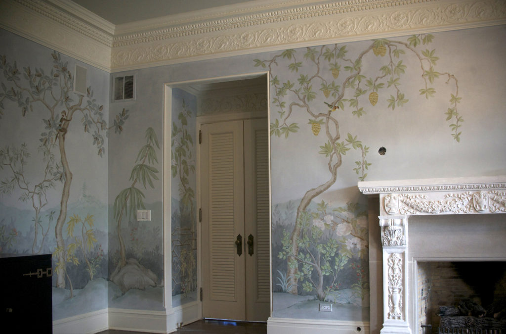 Chinoiserie Landscape Mural East Left Wall