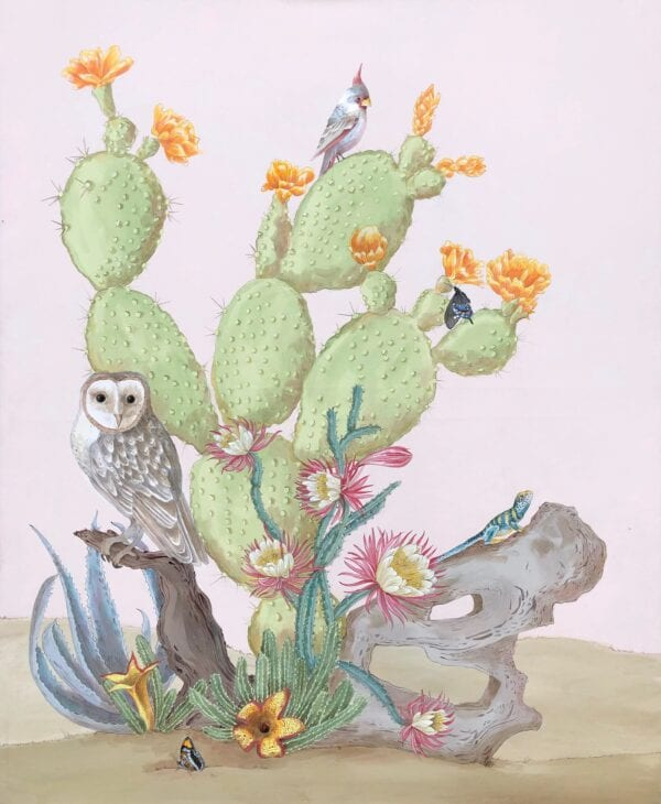 Sonoran Oasis Modern Chinoiserie art by Allison Cosmos