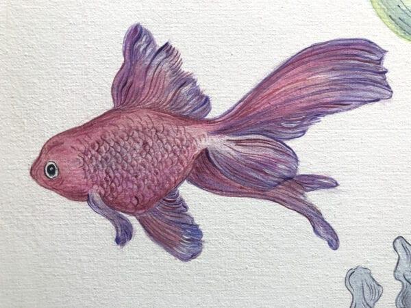 koi-goldfish-painting-by-Allison-Cosmos