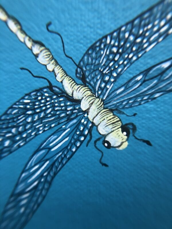 """""""Nothing-to-Egret""""-dragonfly-painting-by-Allison-Cosmos"""