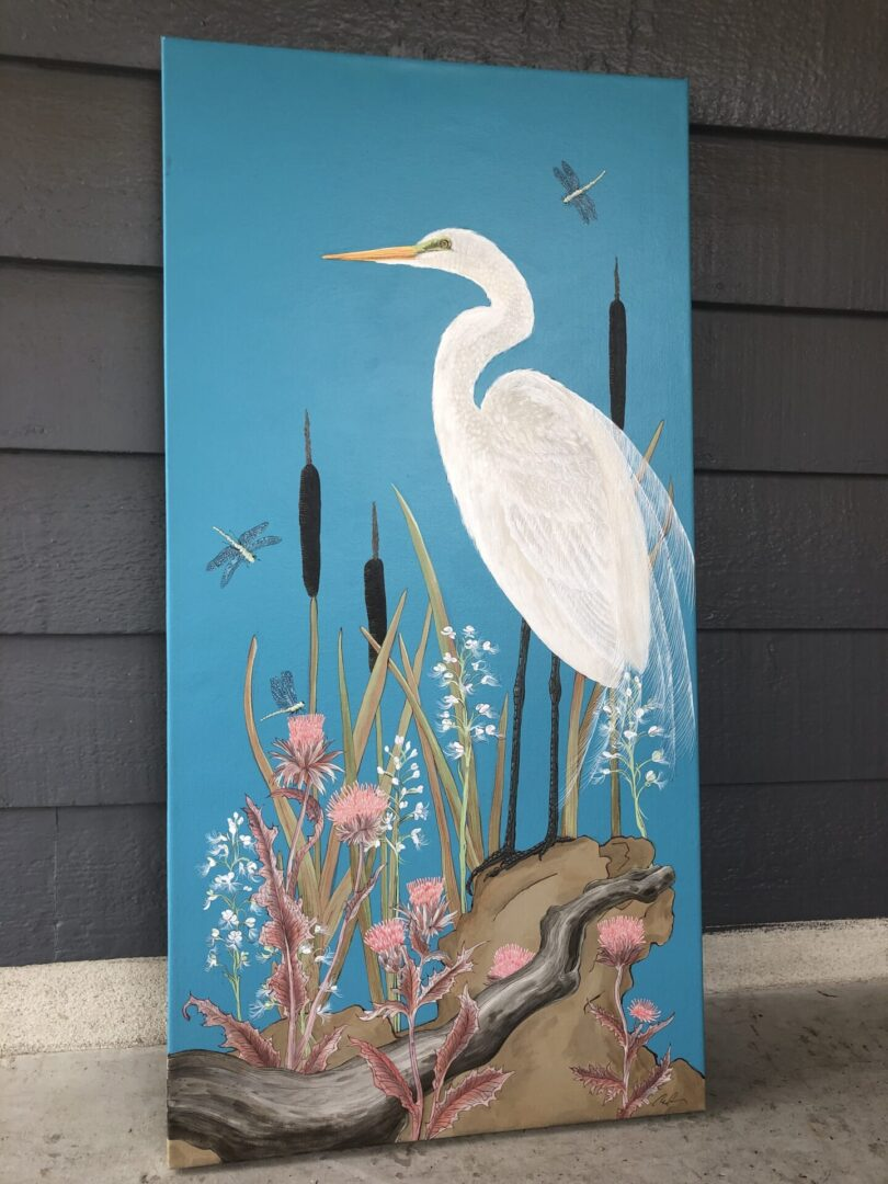 """Nothing-to-Egret""-coastal-bird-painting-by-Allison-Cosmos"