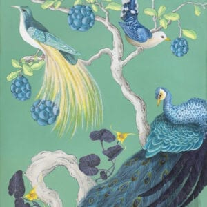 """The-Arrival""-Chinoiserie-peacock-painting-by-Allison-Cosmos"