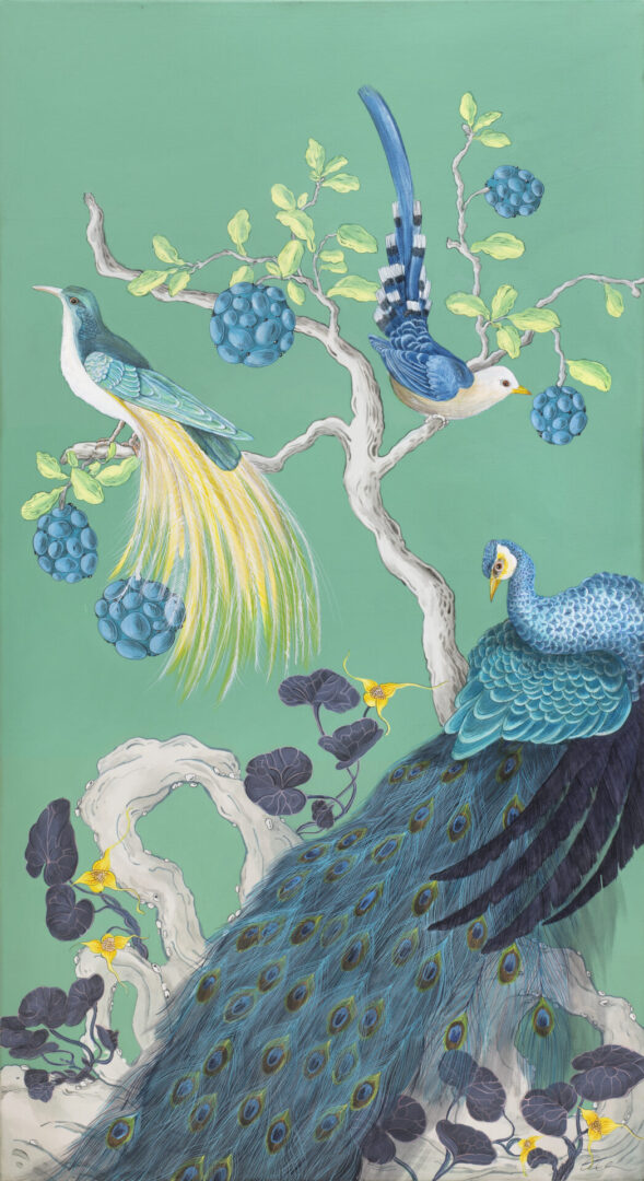 """""""The-Arrival""""-Chinoiserie-peacock-painting-by-Allison-Cosmos"""