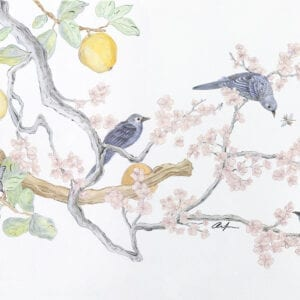 """Social-Nest-Working""-chinoiserie-cherry-blossom-art-by-Allison-Cosmos"