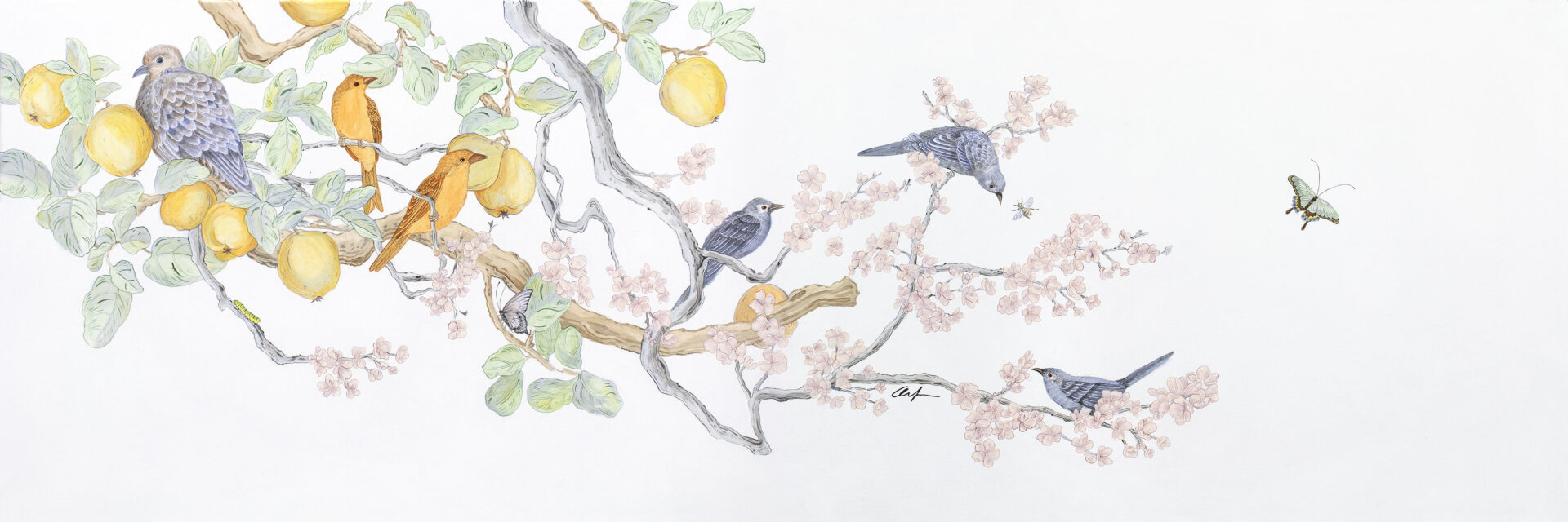 """""""Social-Nest-Working""""-chinoiserie-cherry-blossom-art-by-Allison-Cosmos"""