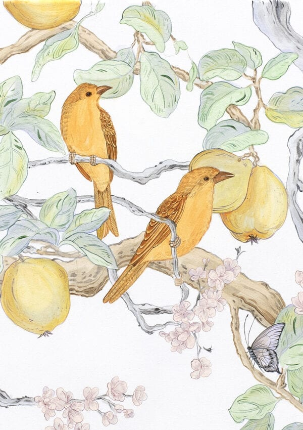 """""""Social-Nest-Working""""-chinoiserie-cherry-blossom-persimmon-by-Allison-Cosmos"""