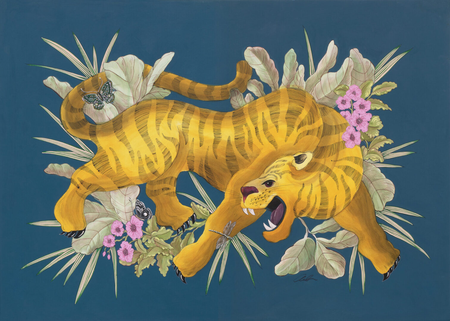 """""""Beauty and the Beast"""" Chinoiserie Chic Tiger Painting by Allison Cosmos"""