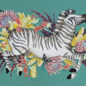 """""""The Mane Event"""", Chinoiserie Chic Zebra Painting by Allison Cosmos"""