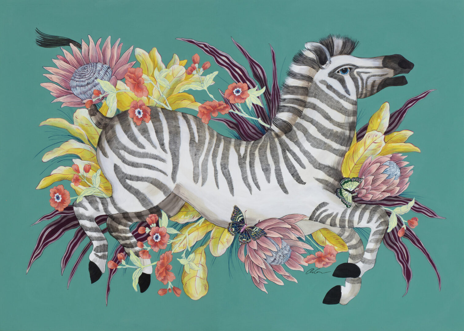 """The Mane Event"", Chinoiserie Chic Zebra Painting by Allison Cosmos"