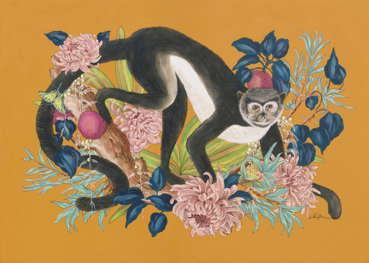 """""""Monkey Business"""" Modern Chinoiserie chic Art, Monkey Painting by Allison Cosmos"""