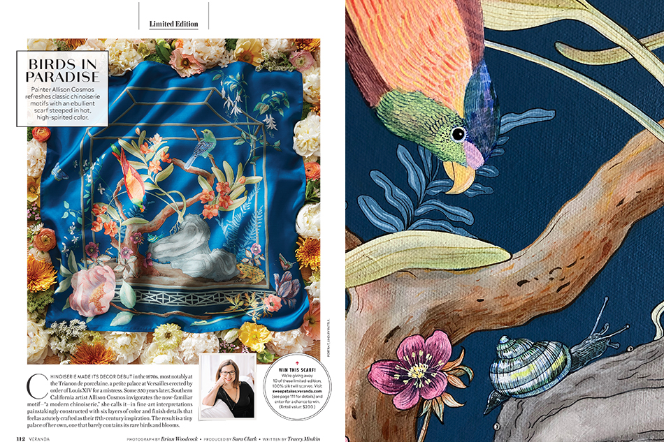 Veranda Magazine Chinoiserie Scarf Design by Allison Cosmos