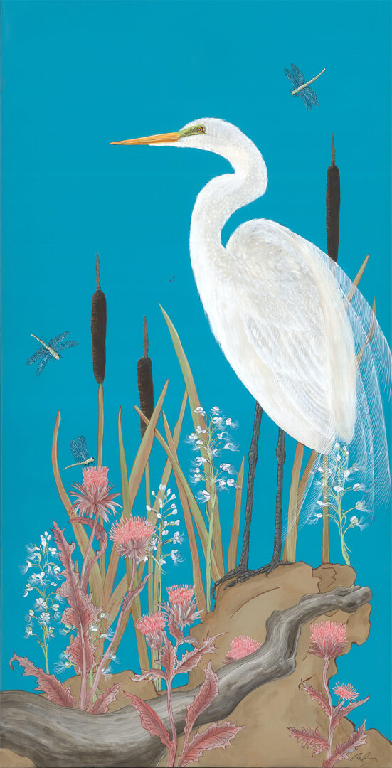 """""""Nothing-to-Egret""""-coastal-bird-painting-by-Allison-Cosmos"""