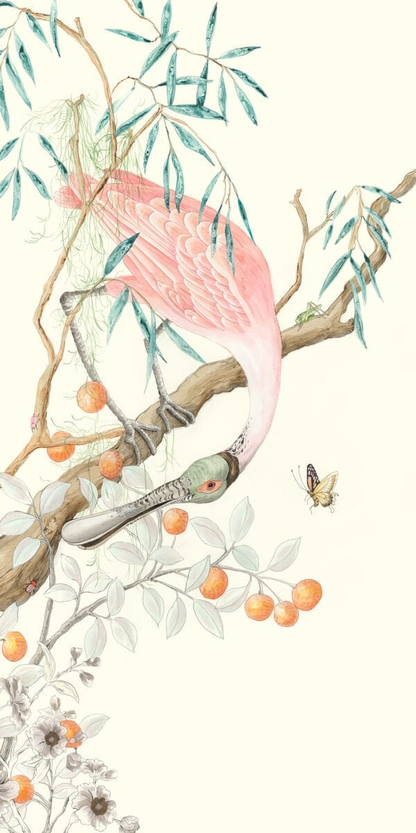 """""""I-Pink-I-Love-You""""-Spoonbill-painting,-Chinoiserie-art-by-Allison-Cosmos"""