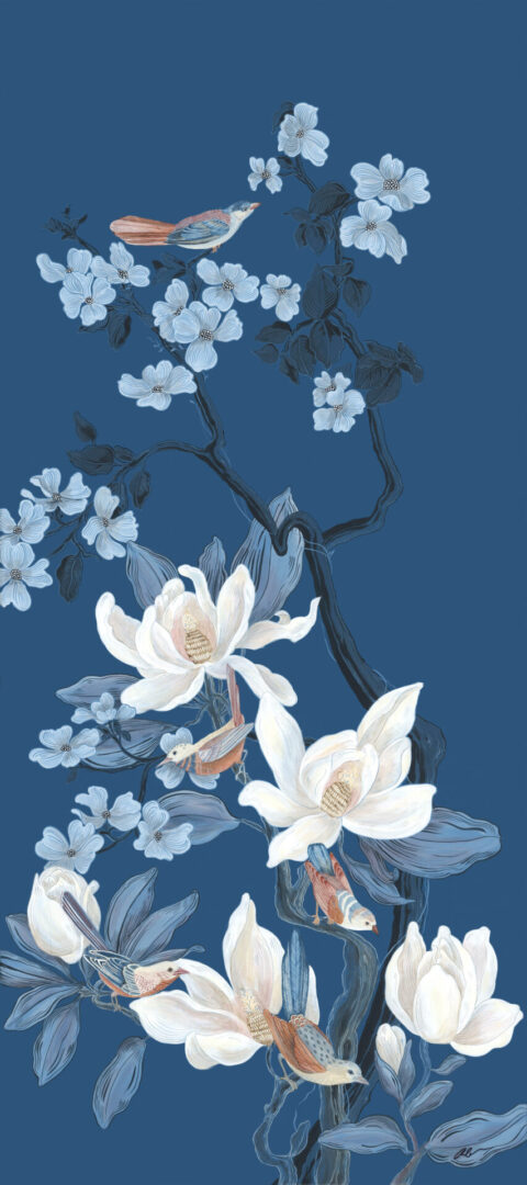 """""""Look-No-Feather""""-Chinoiserie-Bird-Painting-by-Allison-Cosmos"""