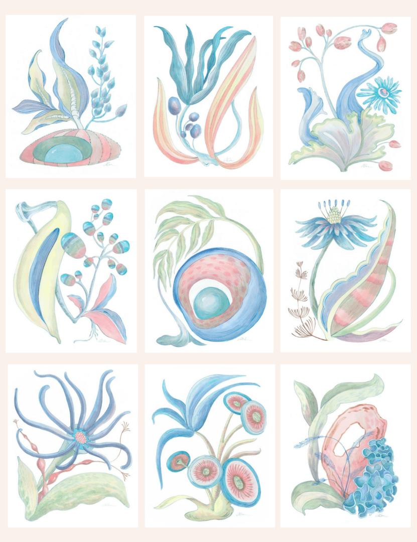 seaweed-fantasy-series-modern-coastal-art-by-Allison-Cosmos