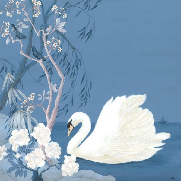 """""""Swan-and-Only""""-Chinoiserie-art-blue-and-white-forever-by-Allison-Cosmos"""