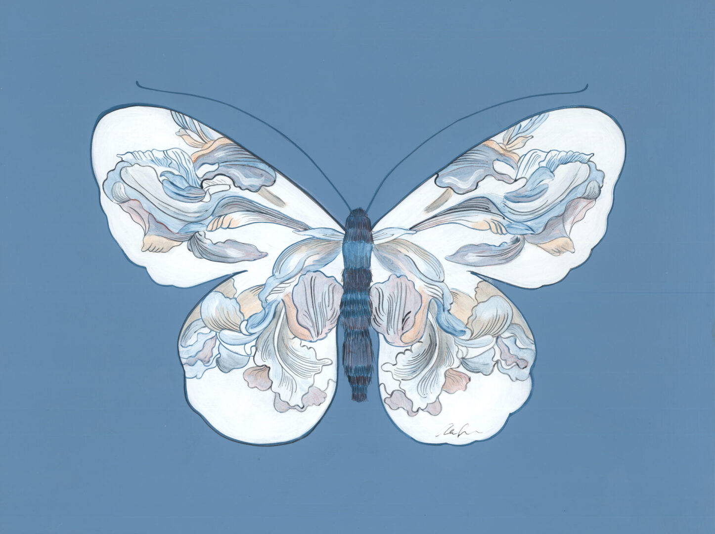"""""""The-Only-Way-to-Fly""""-Chinoiserie-art-butterfly-painting-by-Allison-Cosmos"""