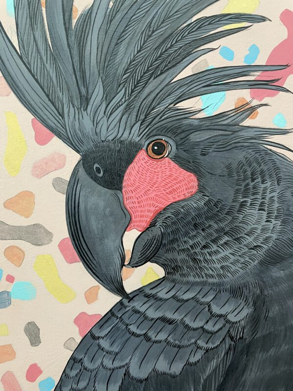 Punch-punk-love-palm-cockatoo-painting-black-parrot-by-Allison-Cosmos