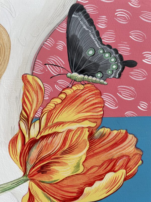 yellow-red-striped-tulip-painting-black-butterfly