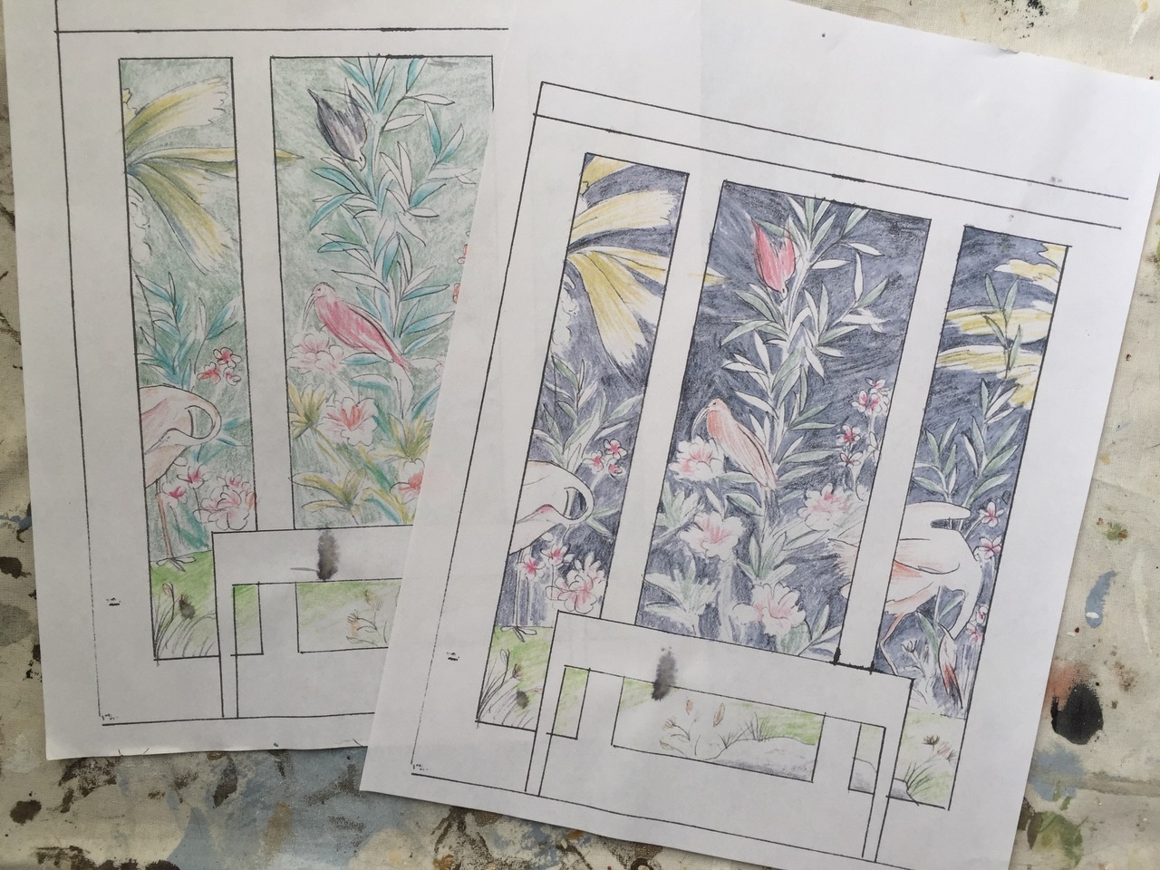 Custom-Art-Commission-Chinoiserie-Panels-Triptych-by-Allison-Cosmos