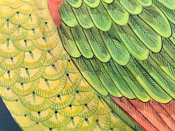 the-feather-forecast-parrot-feathers-chinoiserie-by-allison-cosmos