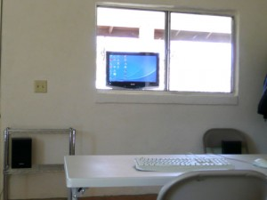 Using a computer through the window