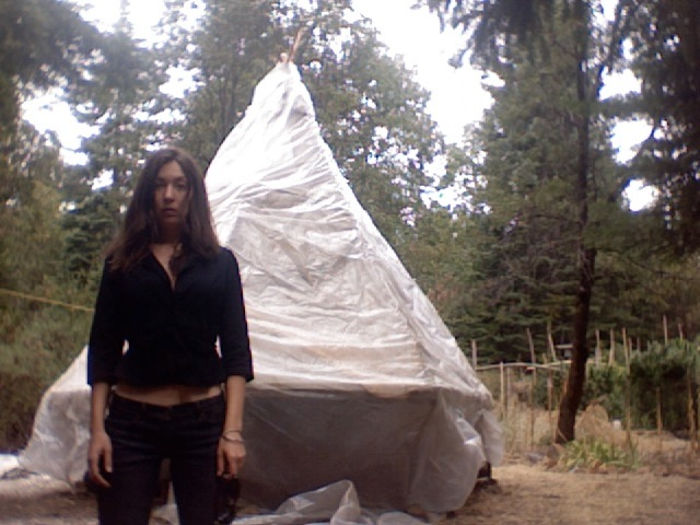 Performance with the Toxic Teepee (from the Pirate Island Performance series) © Monet Clark