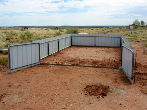 Finished car corral with gate open