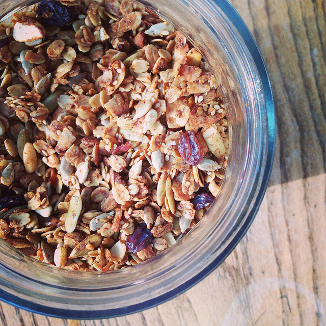 Gluten free spiced seed and honey granola