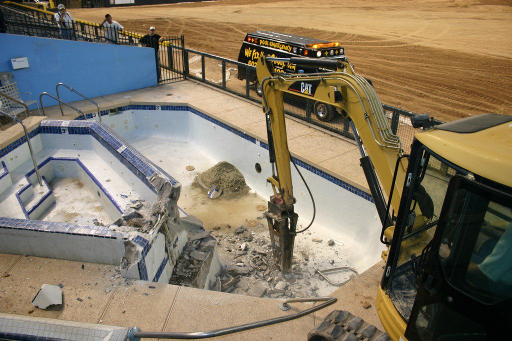 demoing the swimming pool walls for arizona diamondbacks