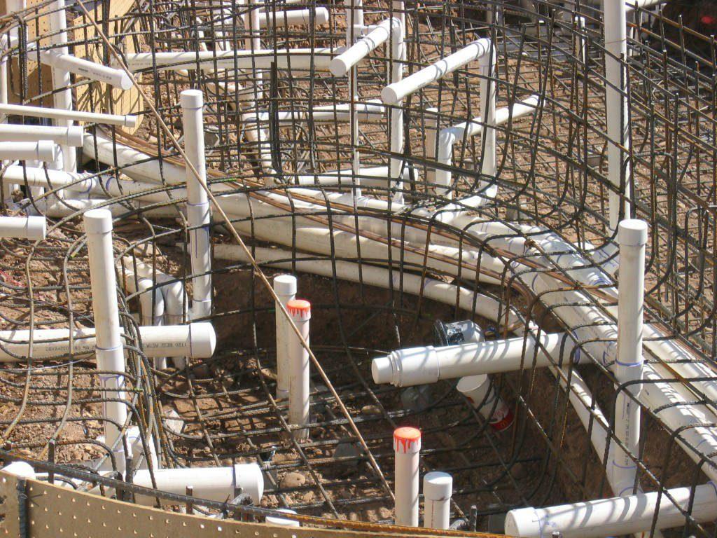 Pipes and Rebar for Pipework in Arizona Diamondback Swimming Pool Rebuild