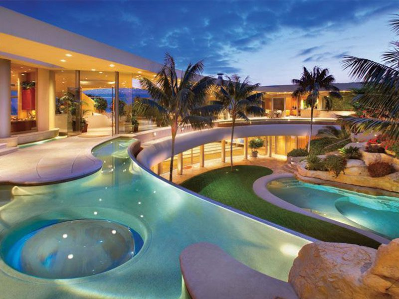 Unique custom swimming pool in Arizona with palm trees