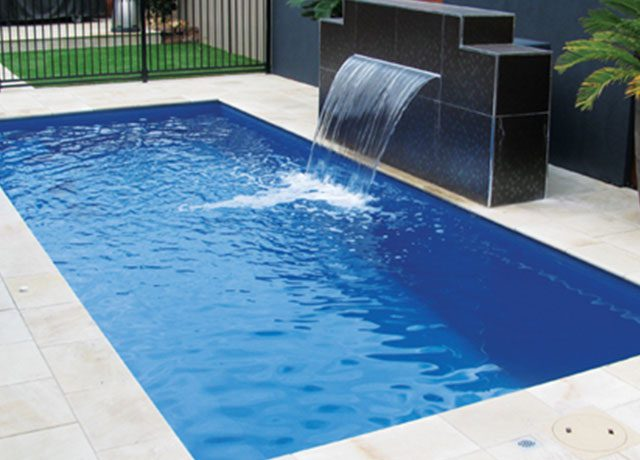 Fiber Glass Pool with Waterfall Feature
