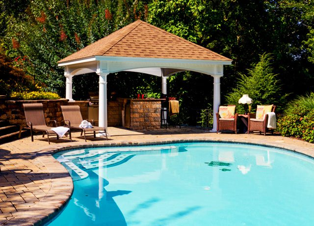 Vinyl pavilion with custom arizona swimming pool
